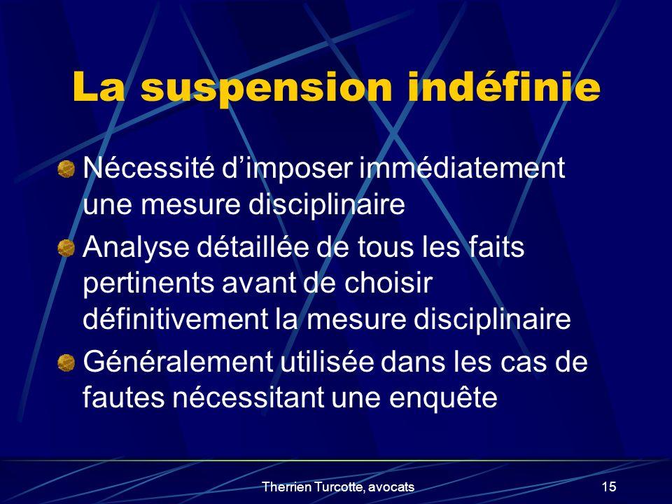 Therrien Turcotte, avocats15 La suspension indéfinie Nécessité dimposer immédiatement une mesure disciplinaire Analyse détaillée de tous les faits per