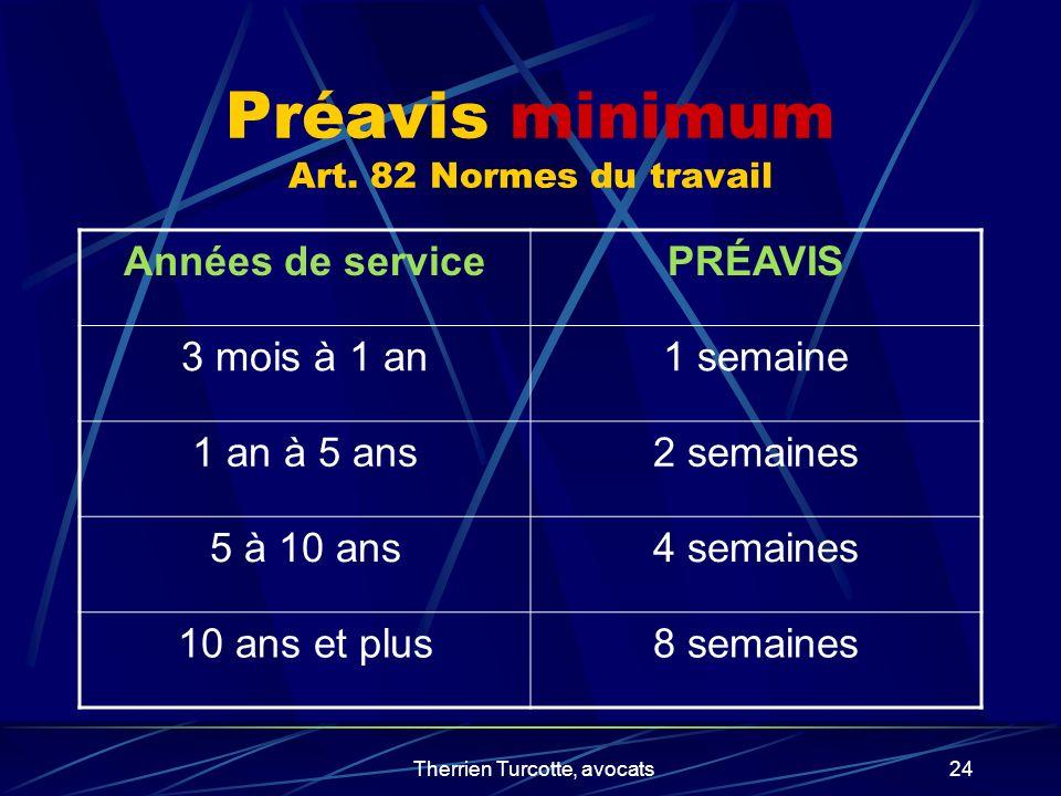 Therrien Turcotte, avocats24 Préavis minimum Art. 82 Normes du travail Années de servicePRÉAVIS 3 mois à 1 an1 semaine 1 an à 5 ans2 semaines 5 à 10 a
