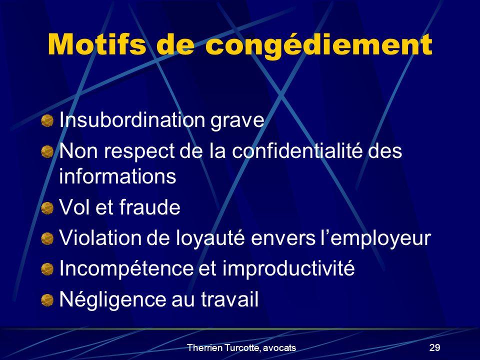 Therrien Turcotte, avocats29 Motifs de congédiement Insubordination grave Non respect de la confidentialité des informations Vol et fraude Violation d
