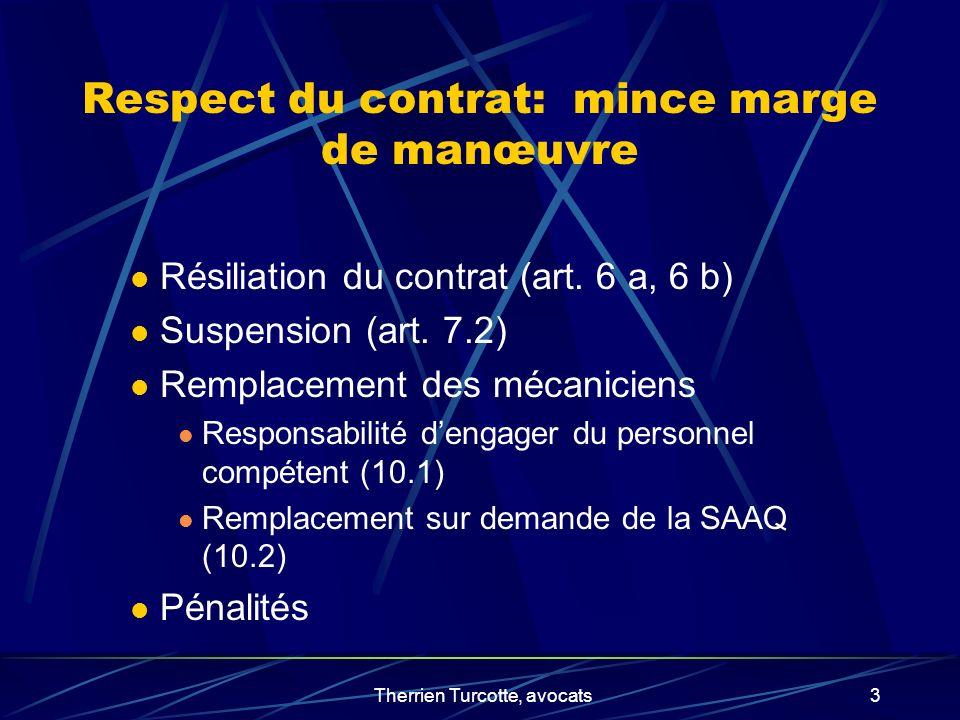 Therrien Turcotte, avocats3 Respect du contrat: mince marge de manœuvre Résiliation du contrat (art. 6 a, 6 b) Suspension (art. 7.2) Remplacement des