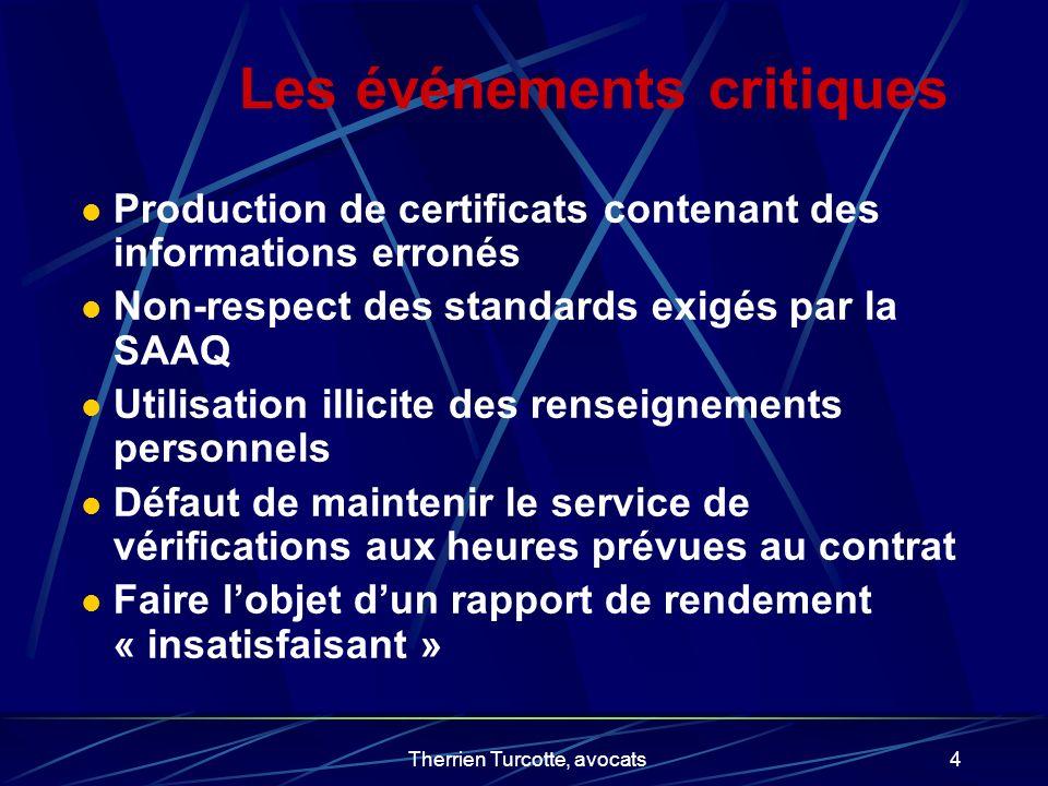 Therrien Turcotte, avocats4 Les événements critiques Production de certificats contenant des informations erronés Non-respect des standards exigés par