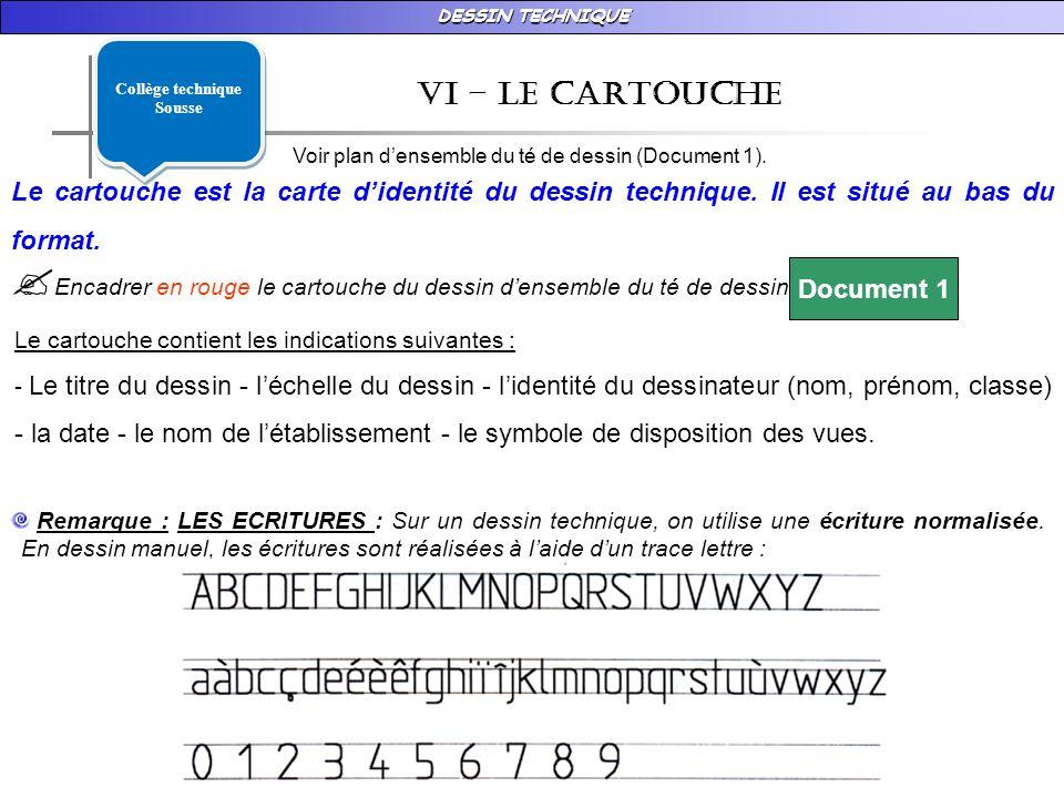 DESSIN TECHNIQUE vI – LE CARTOUCHE Le cartouche est la carte didentité du dessin technique.