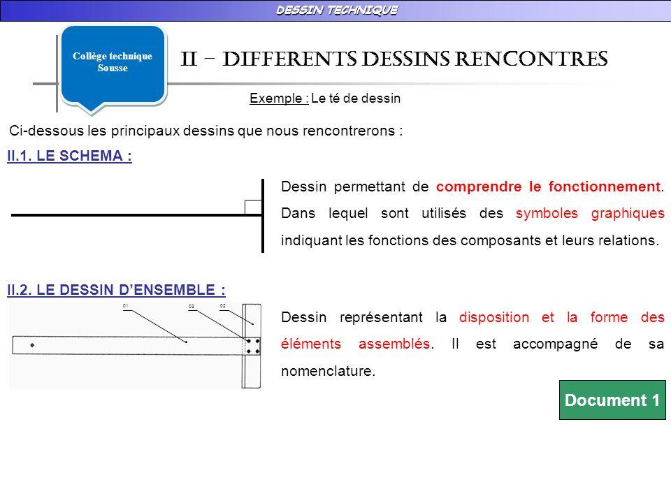 DESSIN TECHNIQUE 02 03 01 II – DIFFERENTS DESSINS RENCONTRES Exemple : Le té de dessin Ci-dessous les principaux dessins que nous rencontrerons : II.1.