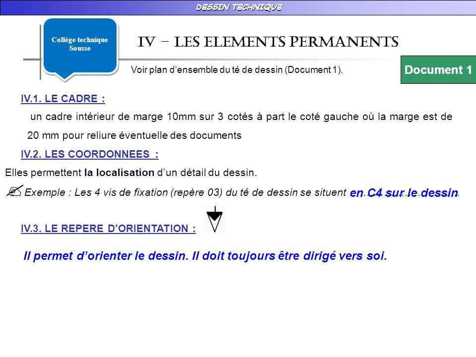 DESSIN TECHNIQUE Iv – les ELEMENTS PERMANENTS Voir plan densemble du té de dessin (Document 1).