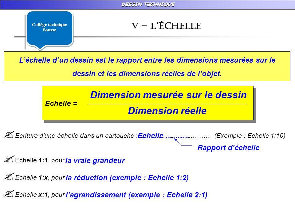 DESSIN TECHNIQUE v – LÉchelle Léchelle dun dessin est le rapport entre les dimensions mesurées sur le dessin et les dimensions réelles de lobjet.