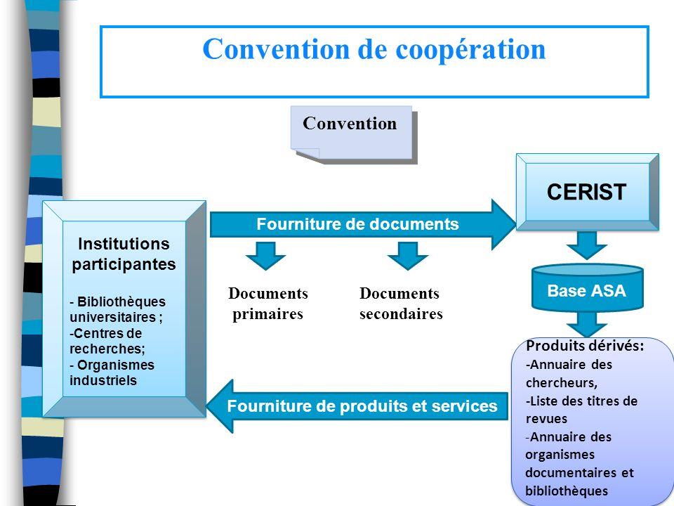 Convention de coopération Institutions participantes - Bibliothèques universitaires ; -Centres de recherches; - Organismes industriels Institutions pa