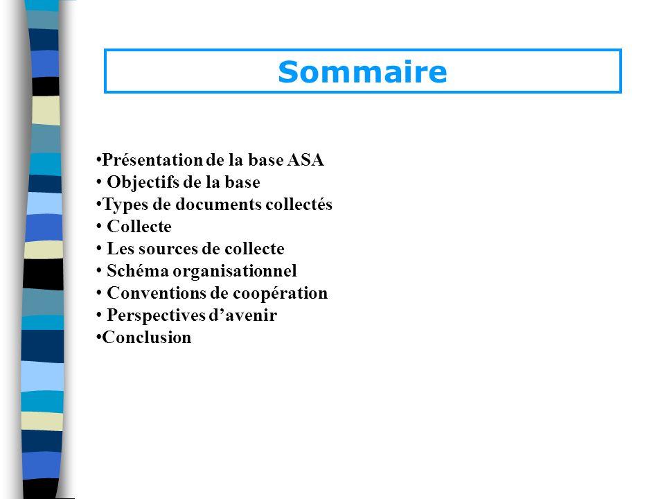 Sommaire Présentation de la base ASA Objectifs de la base Types de documents collectés Collecte Les sources de collecte Schéma organisationnel Convent