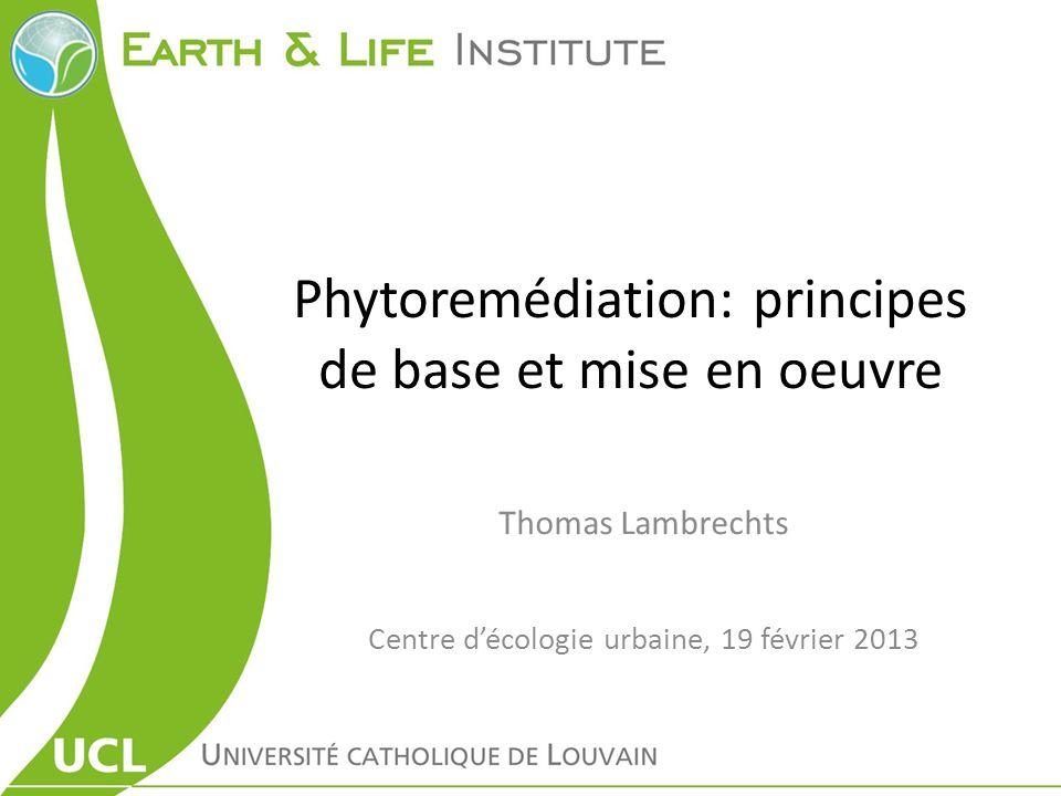 Phytoremédiation: principes de base et mise en oeuvre Thomas Lambrechts Centre décologie urbaine, 19 février 2013
