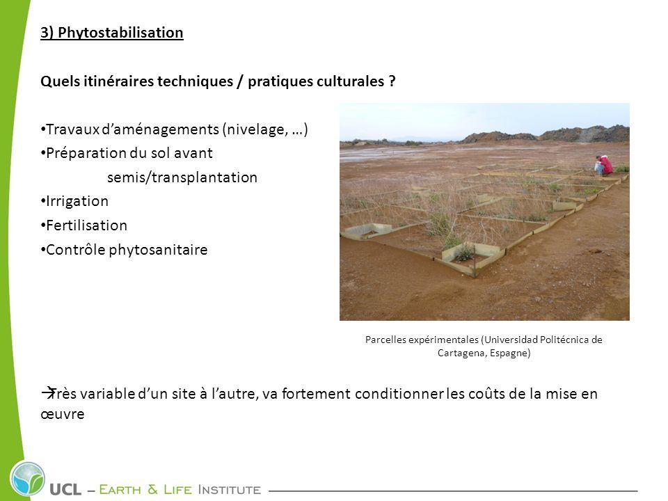 3) Phytostabilisation Quels itinéraires techniques / pratiques culturales ? Travaux daménagements (nivelage, …) Préparation du sol avant semis/transpl