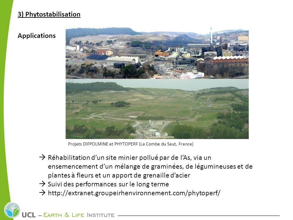 3) Phytostabilisation Applications Projets DIFPOLMINE et PHYTOPERF (La Combe du Saut, France) Réhabilitation dun site minier pollué par de lAs, via un