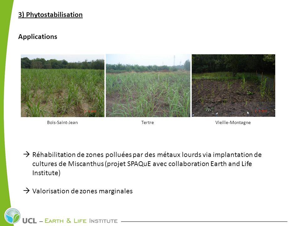3) Phytostabilisation Applications Réhabilitation de zones polluées par des métaux lourds via implantation de cultures de Miscanthus (projet SPAQuE av