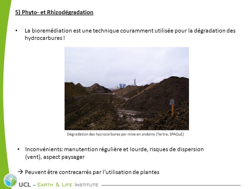 5) Phyto- et Rhizodégradation La bioremédiation est une technique couramment utilisée pour la dégradation des hydrocarbures ! Dégradation des hycrocar