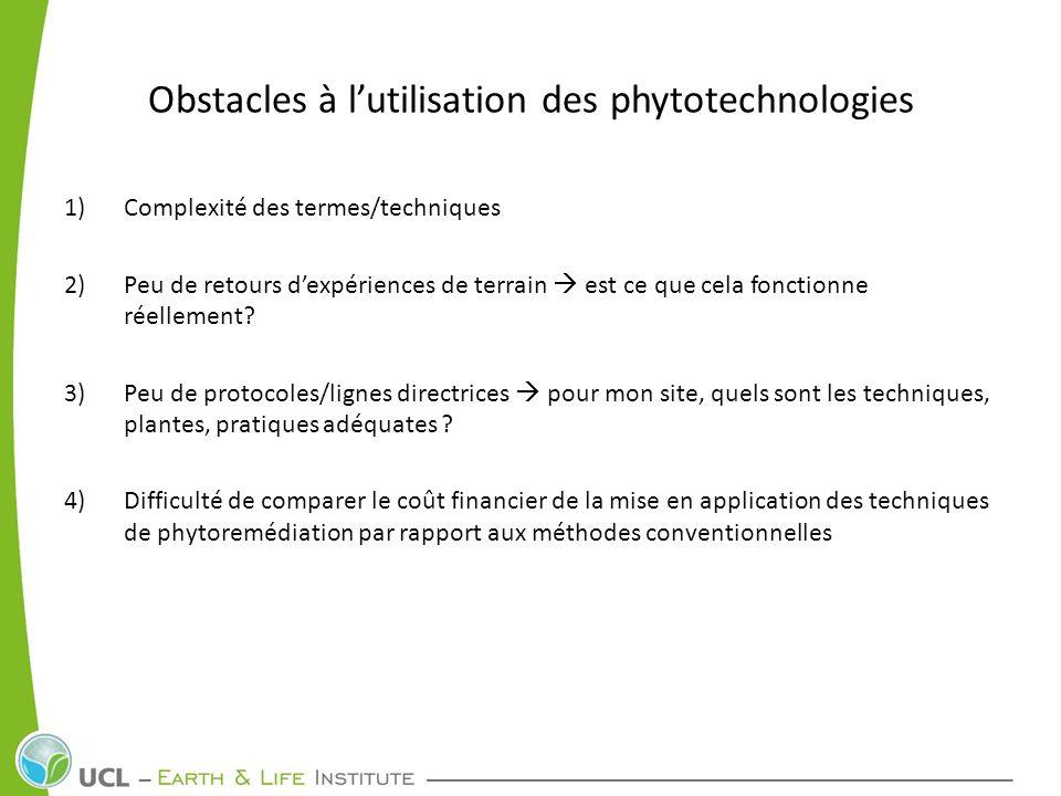 Obstacles à lutilisation des phytotechnologies 1)Complexité des termes/techniques 2)Peu de retours dexpériences de terrain est ce que cela fonctionne