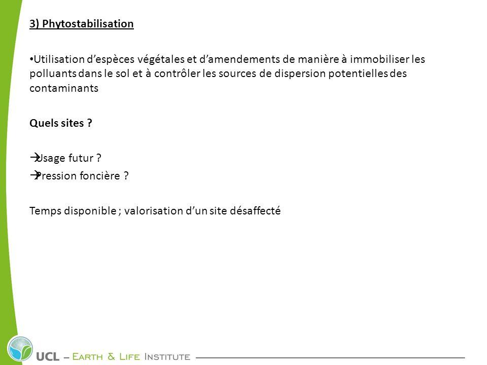 3) Phytostabilisation Quelles plantes .
