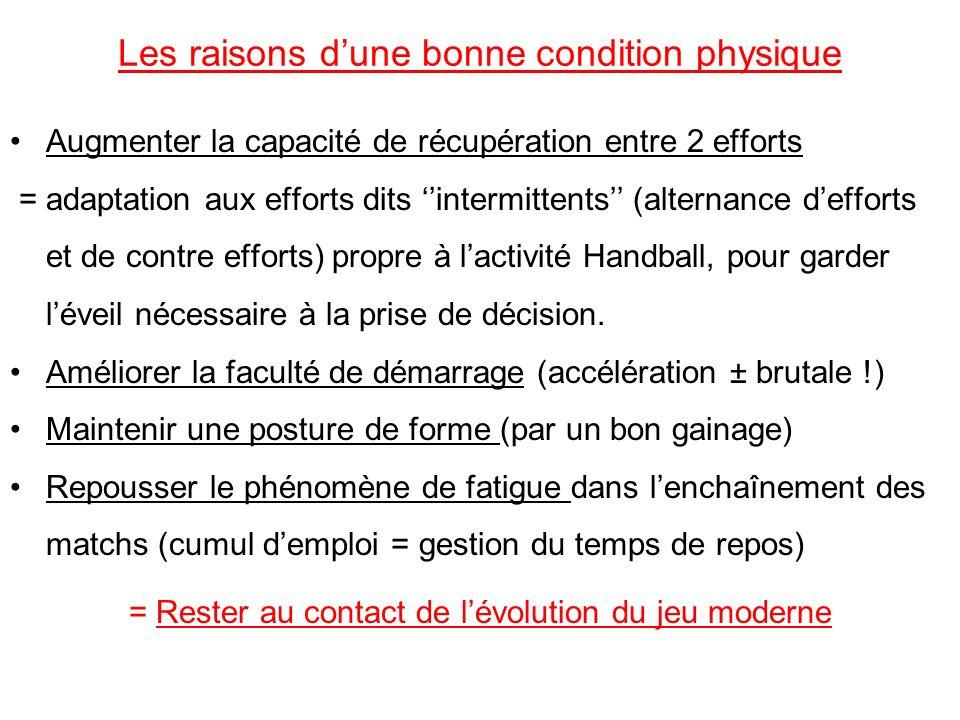 Les raisons dune bonne condition physique Augmenter la capacité de récupération entre 2 efforts = adaptation aux efforts dits intermittents (alternanc