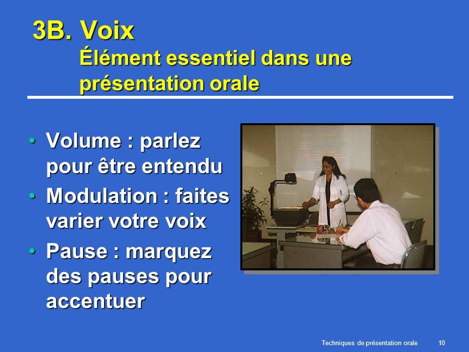 Techniques de présentation orale10 3B. Voix Élément essentiel dans une présentation orale Volume : parlez pour être entenduVolume : parlez pour être e