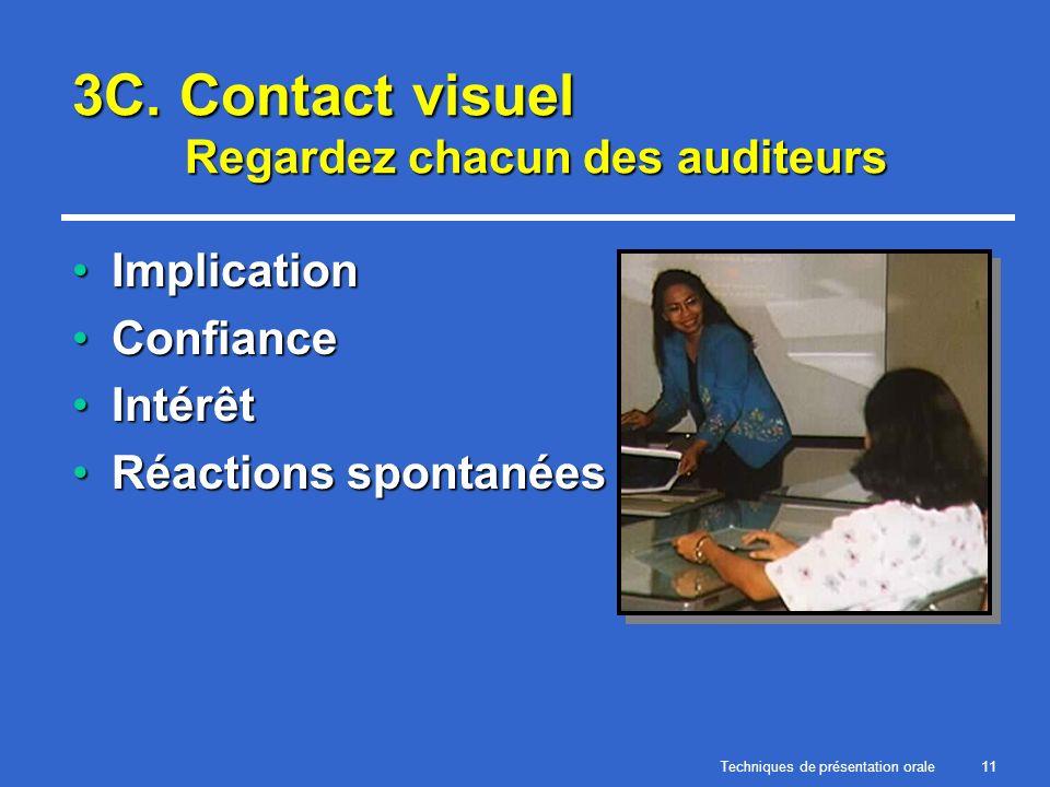 Techniques de présentation orale11 3C. Contact visuel Regardez chacun des auditeurs ImplicationImplication ConfianceConfiance IntérêtIntérêt Réactions