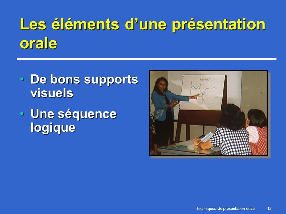 Techniques de présentation orale13 Les éléments dune présentation orale De bons supports visuelsDe bons supports visuels Une séquence logiqueUne séque
