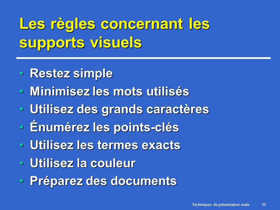 Techniques de présentation orale15 Les règles concernant les supports visuels Restez simpleRestez simple Minimisez les mots utilisésMinimisez les mots