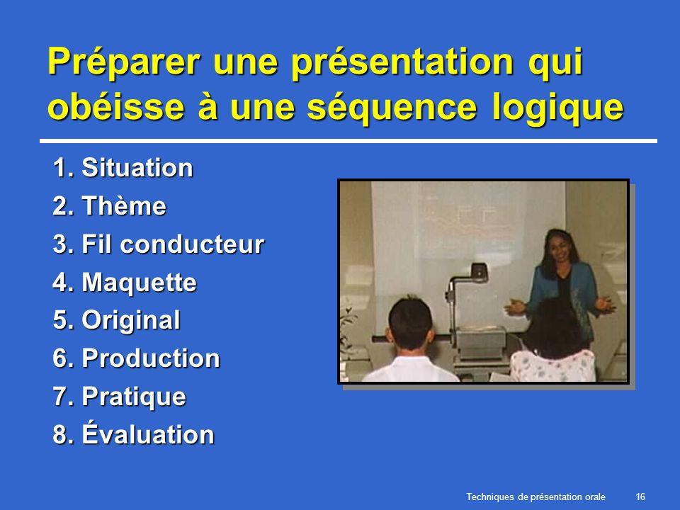Techniques de présentation orale16 Préparer une présentation qui obéisse à une séquence logique 1. Situation 2. Thème 3. Fil conducteur 4. Maquette 5.