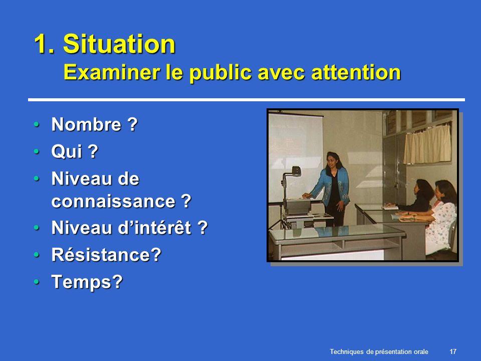 Techniques de présentation orale17 1. Situation Examiner le public avec attention Nombre ?Nombre ? Qui ?Qui ? Niveau de connaissance ?Niveau de connai
