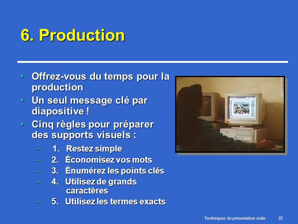 Techniques de présentation orale22 6. Production Offrez-vous du temps pour la productionOffrez-vous du temps pour la production Un seul message clé pa