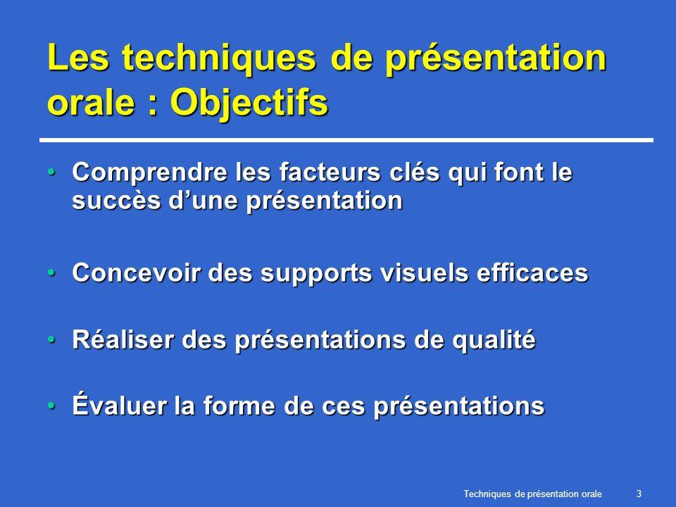 Techniques de présentation orale3 Les techniques de présentation orale : Objectifs Comprendre les facteurs clés qui font le succès dune présentationCo
