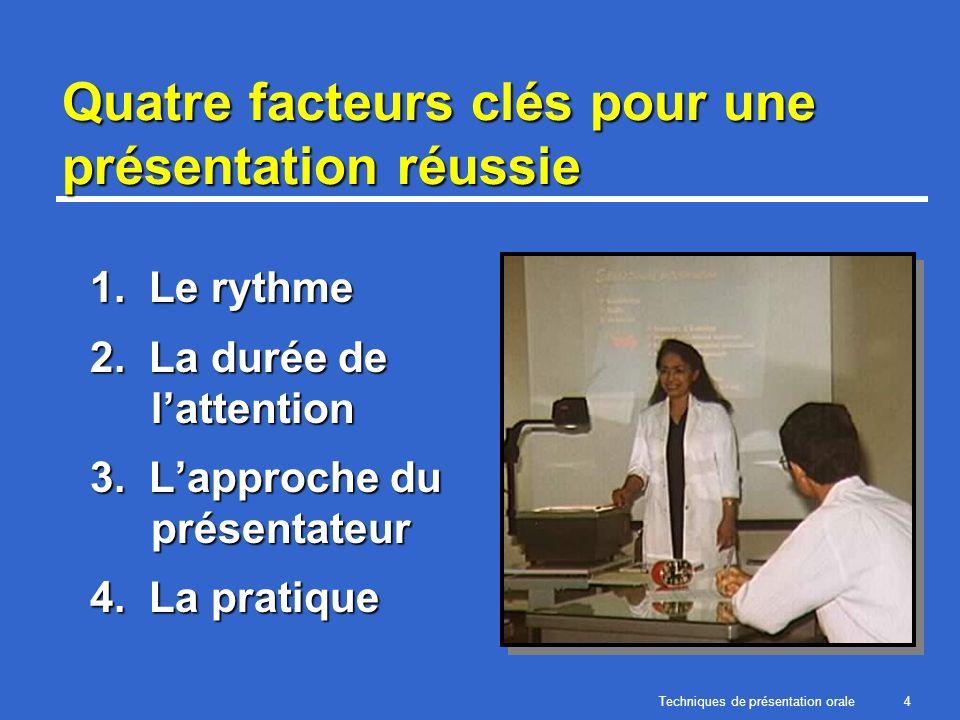 Techniques de présentation orale4 Quatre facteurs clés pour une présentation réussie 1. Le rythme 2. La durée de lattention 3. Lapproche du présentate