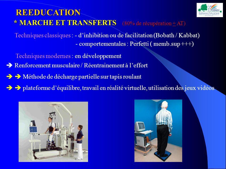REEDUCATION REEDUCATION * MARCHE ET TRANSFERTS (80% de récupération + AT) Techniques classiques : - dinhibition ou de facilitation (Bobath / Kabbat) -