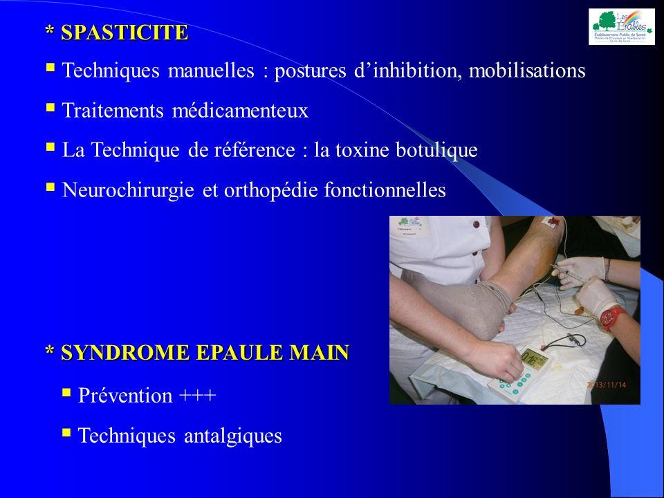 * SYNDROME EPAULE MAIN Prévention +++ Techniques antalgiques * SPASTICITE Techniques manuelles : postures dinhibition, mobilisations Traitements médic