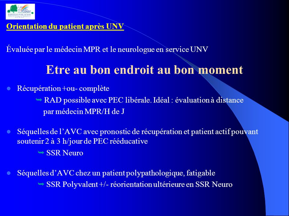 Orientation du patient après UNV Évaluée par le médecin MPR et le neurologue en service UNV Etre au bon endroit au bon moment Récupération +ou- complè