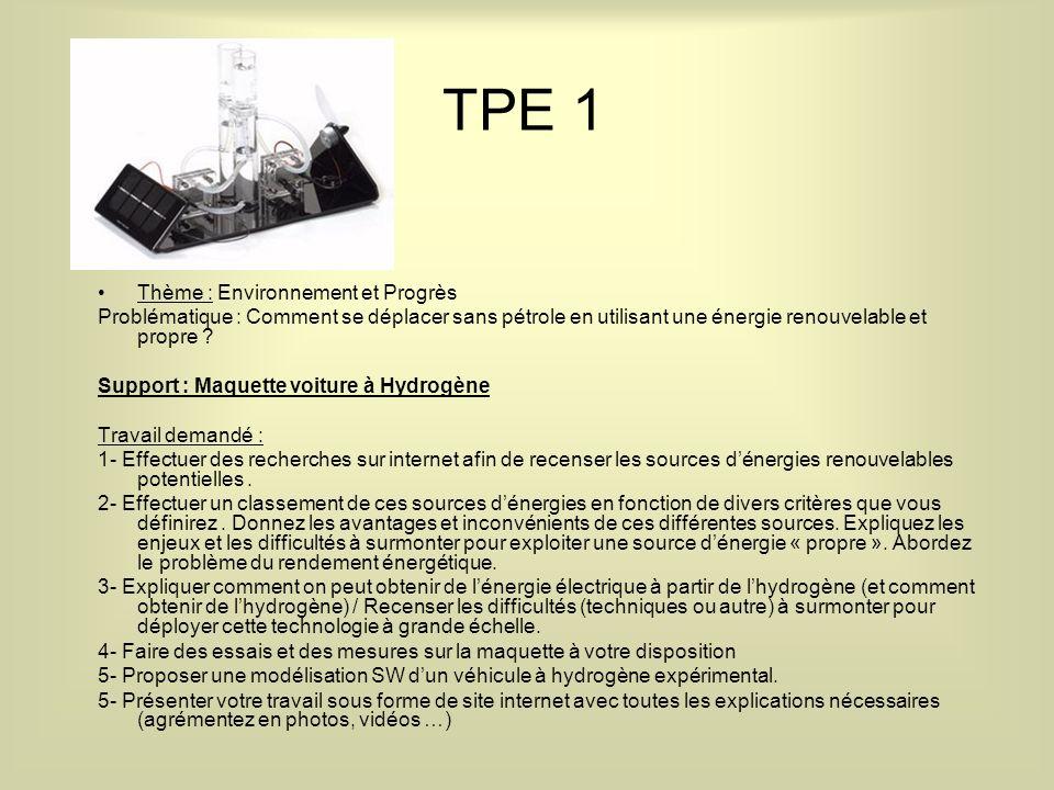 TPE 1 Thème : Environnement et Progrès Problématique : Comment se déplacer sans pétrole en utilisant une énergie renouvelable et propre .