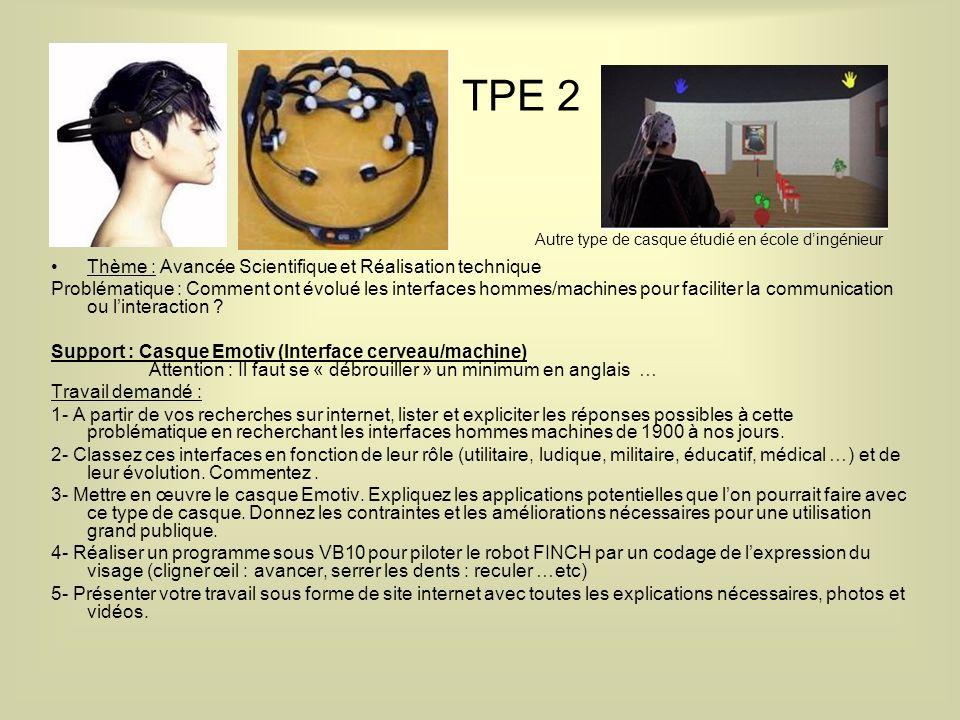 TPE 2 Thème : Avancée Scientifique et Réalisation technique Problématique : Comment ont évolué les interfaces hommes/machines pour faciliter la communication ou linteraction .