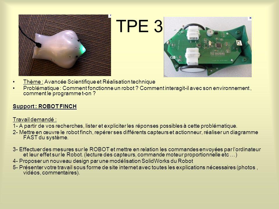 TPE 3 Thème : Avancée Scientifique et Réalisation technique Problématique : Comment fonctionne un robot .