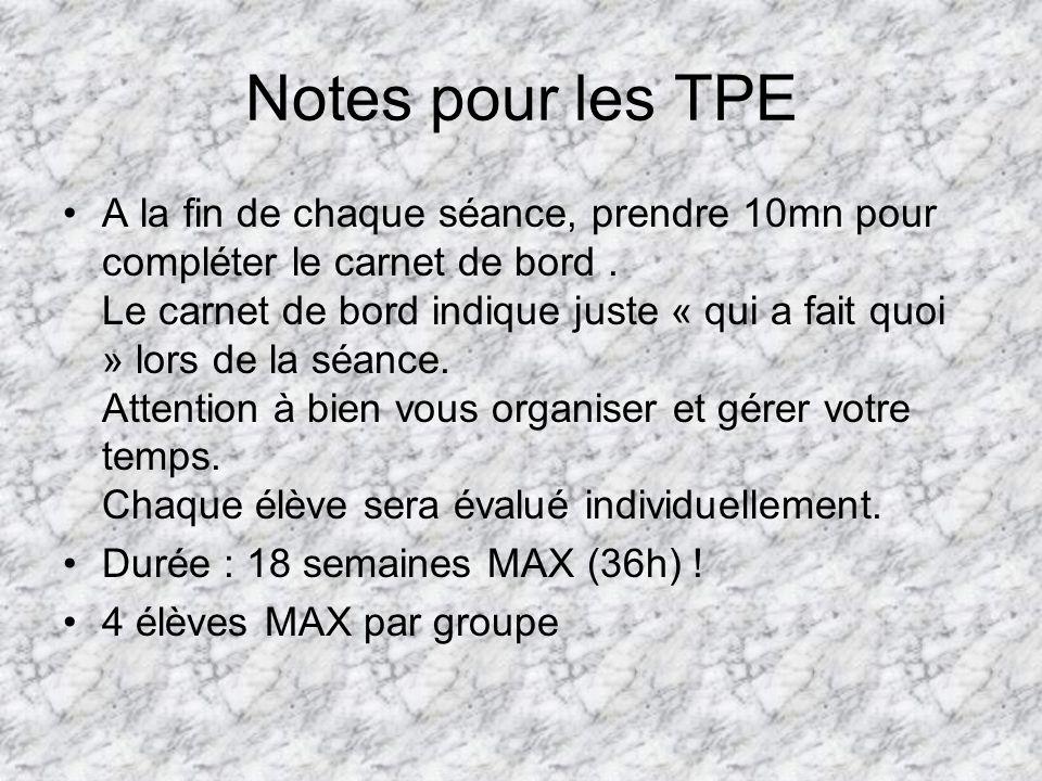 Notes pour les TPE A la fin de chaque séance, prendre 10mn pour compléter le carnet de bord.