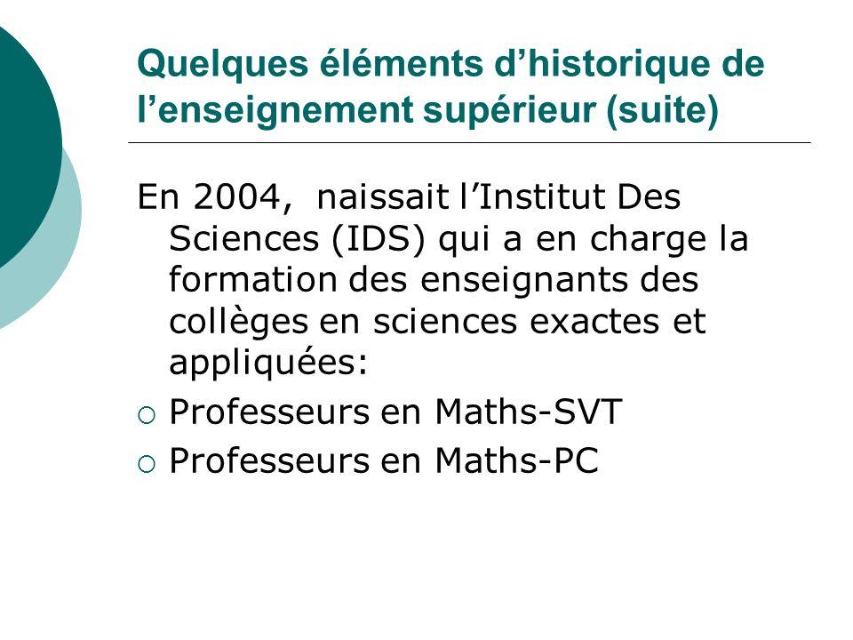 Quelques éléments dhistorique de lenseignement supérieur (suite) En 2004, naissait lInstitut Des Sciences (IDS) qui a en charge la formation des ensei