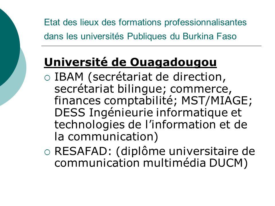 Etat des lieux des formations professionnalisantes dans les universités Publiques du Burkina Faso Université de Ouagadougou IBAM (secrétariat de direc