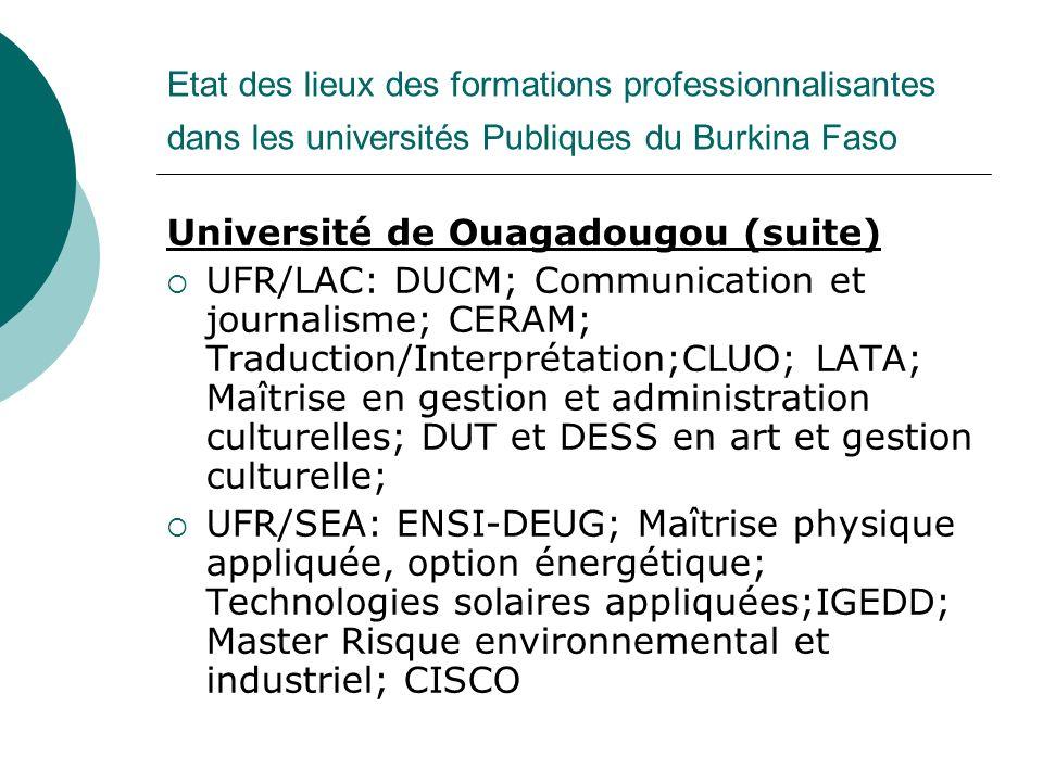 Etat des lieux des formations professionnalisantes dans les universités Publiques du Burkina Faso Université de Ouagadougou (suite) UFR/LAC: DUCM; Com