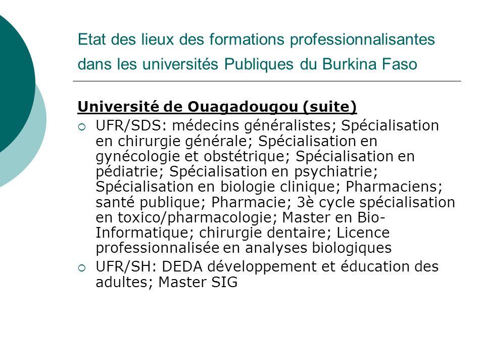 Etat des lieux des formations professionnalisantes dans les universités Publiques du Burkina Faso Université de Ouagadougou (suite) UFR/SDS: médecins