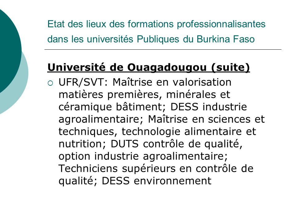 Etat des lieux des formations professionnalisantes dans les universités Publiques du Burkina Faso Université de Ouagadougou (suite) UFR/SVT: Maîtrise