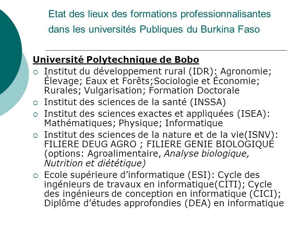 Etat des lieux des formations professionnalisantes dans les universités Publiques du Burkina Faso Université Polytechnique de Bobo Institut du dévelop