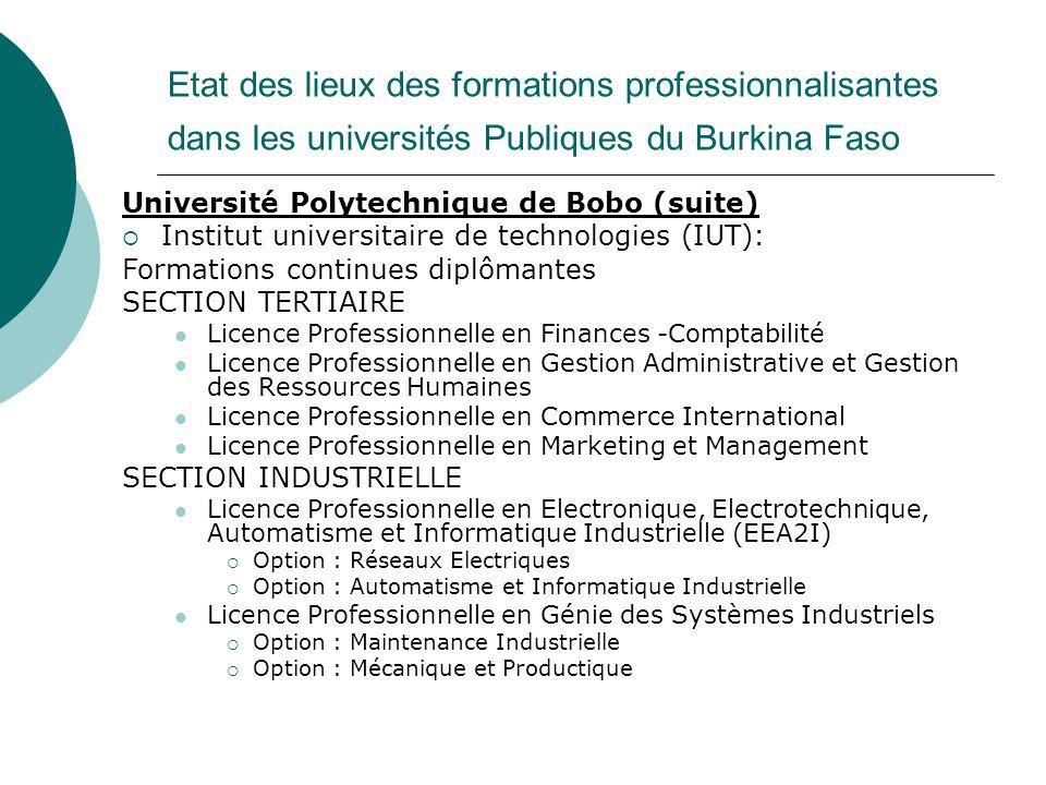 Etat des lieux des formations professionnalisantes dans les universités Publiques du Burkina Faso Université Polytechnique de Bobo (suite) Institut un