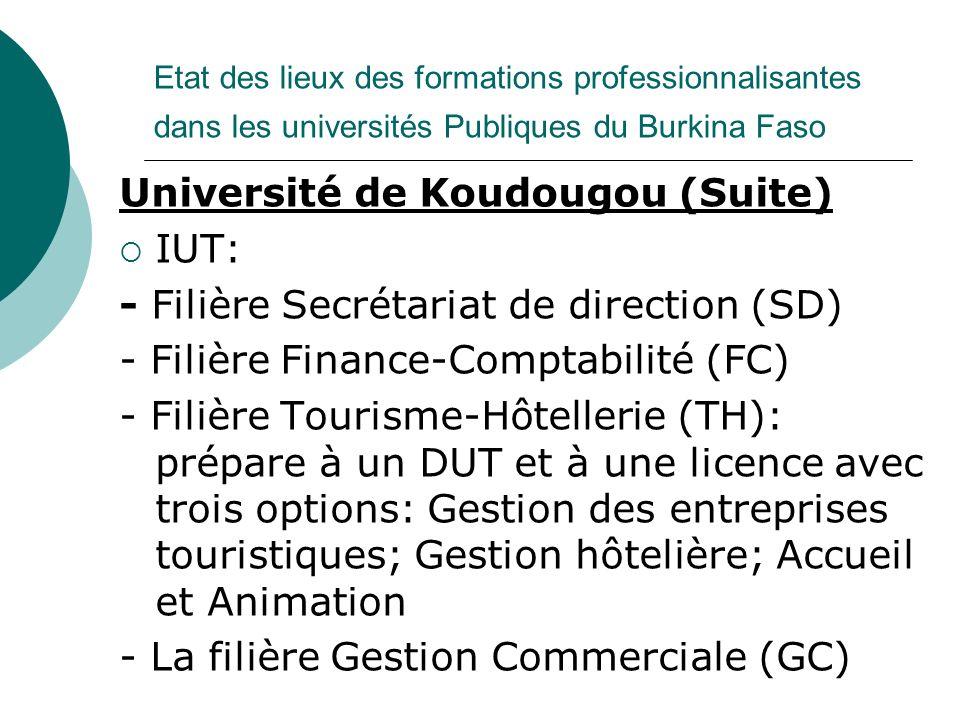 Etat des lieux des formations professionnalisantes dans les universités Publiques du Burkina Faso Université de Koudougou (Suite) IUT: - Filière Secré