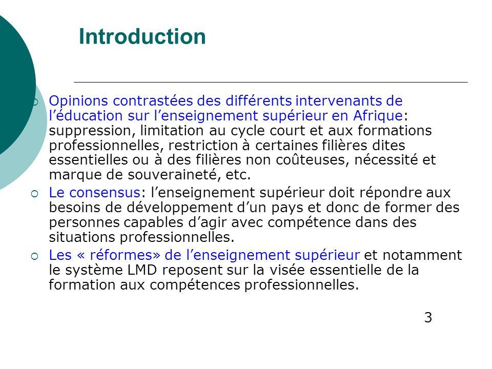 Introduction Opinions contrastées des différents intervenants de léducation sur lenseignement supérieur en Afrique: suppression, limitation au cycle c