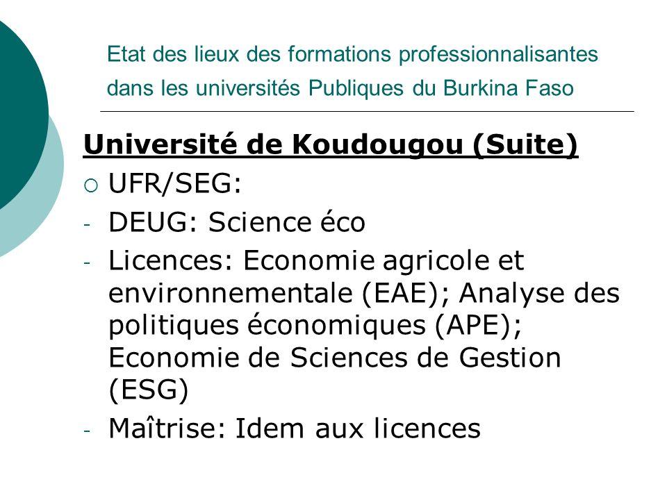 Etat des lieux des formations professionnalisantes dans les universités Publiques du Burkina Faso Université de Koudougou (Suite) UFR/SEG: - DEUG: Sci