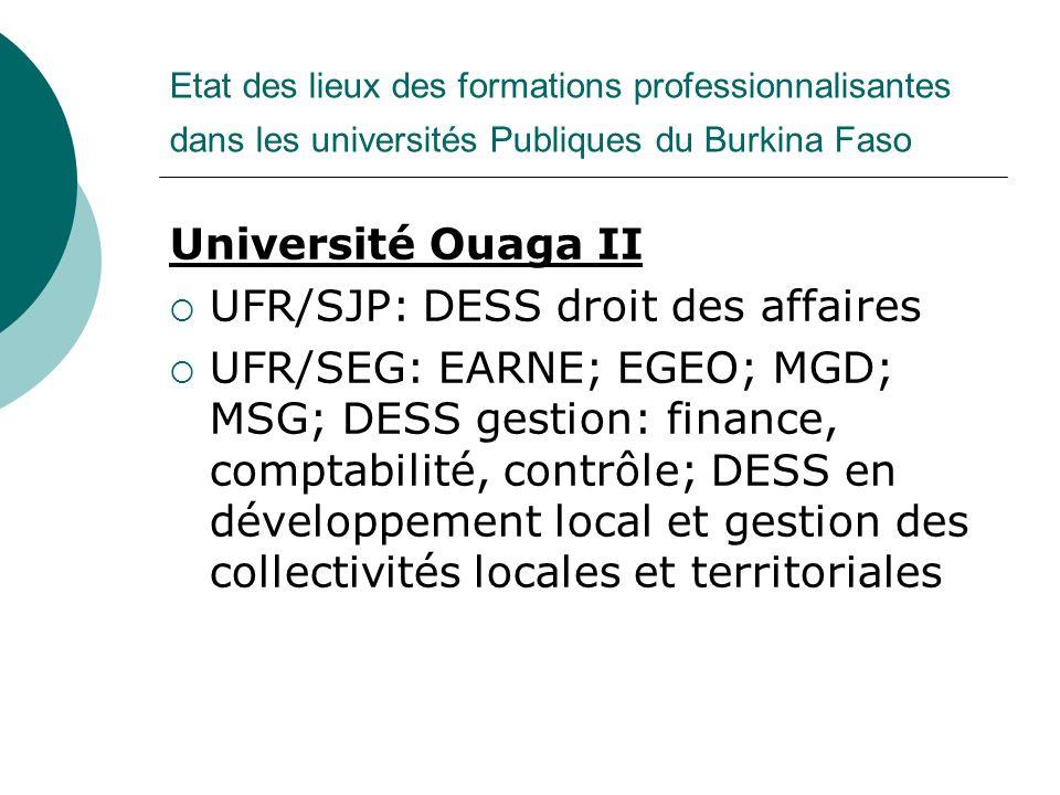 Etat des lieux des formations professionnalisantes dans les universités Publiques du Burkina Faso Université Ouaga II UFR/SJP: DESS droit des affaires