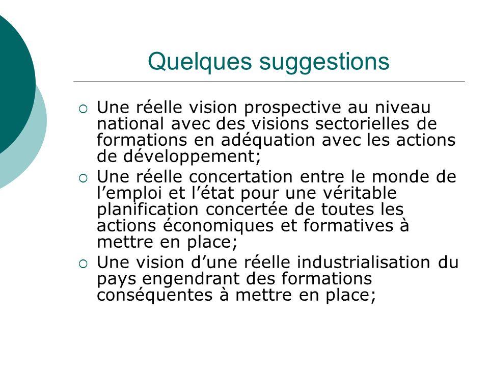 Quelques suggestions Une réelle vision prospective au niveau national avec des visions sectorielles de formations en adéquation avec les actions de dé