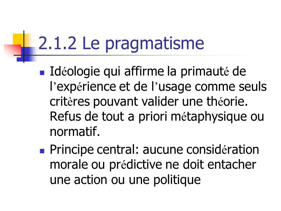 2.1.2 Le pragmatisme Id é ologie qui affirme la primaut é de l exp é rience et de l usage comme seuls crit è res pouvant valider une th é orie.