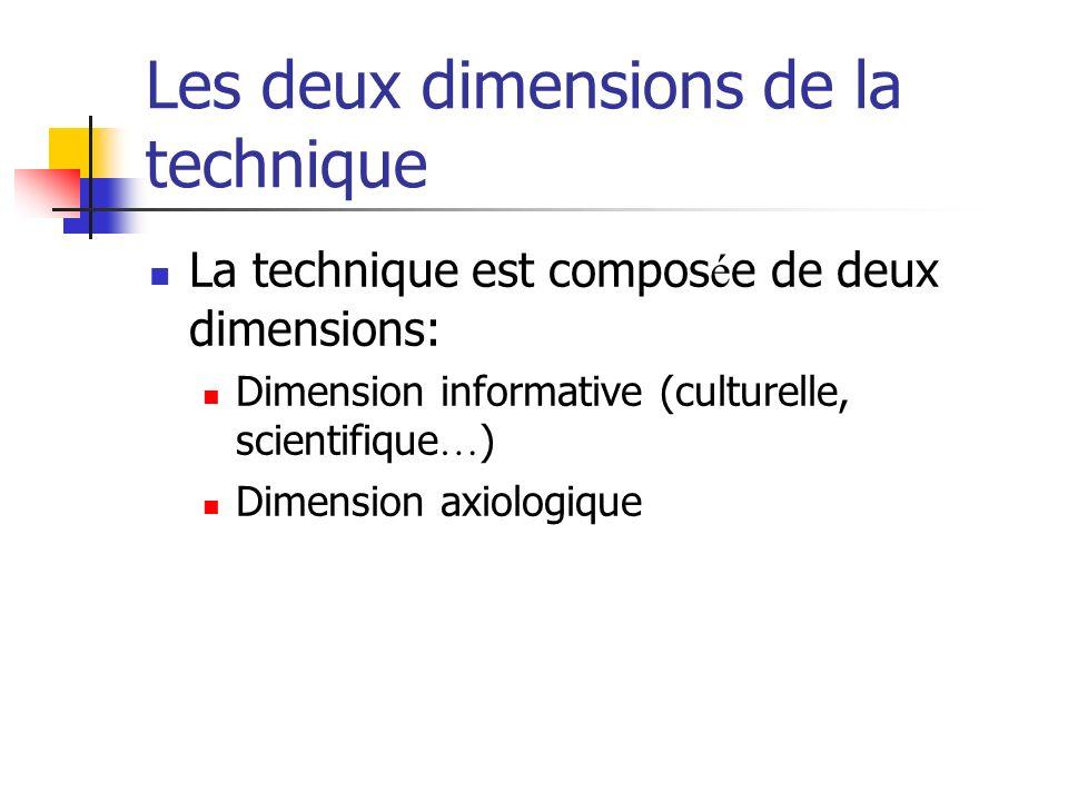 Les deux dimensions de la technique La technique est compos é e de deux dimensions: Dimension informative (culturelle, scientifique … ) Dimension axiologique