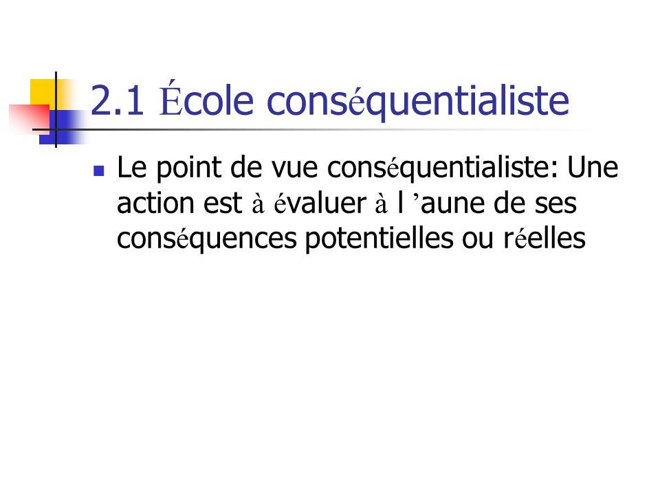 2.1 É cole cons é quentialiste Le point de vue cons é quentialiste: Une action est à é valuer à l aune de ses cons é quences potentielles ou r é elles